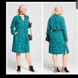 Ava & viv green button down dress belt size 3x